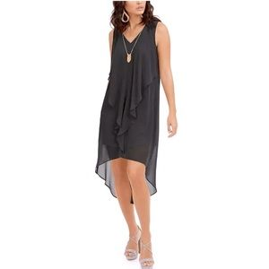 Thalia Sodi Ruffled High-Low Necklace Dress Sheer
